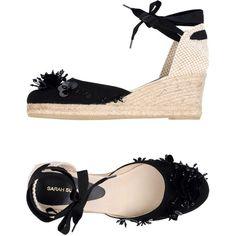 Sarah Summer Espadrilles (455 BRL) ❤ liked on Polyvore featuring shoes, sandals, black, espadrille sandals, black sequin sandals, black wedge shoes, wedge heel espadrilles and wedge espadrilles