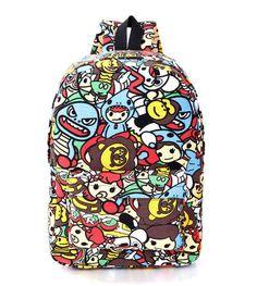 Hippie 2016 Canvas Backpacks Student School Bag Cartoon Print Rucksack Outdoor Travel Pack Laptop Graffiti Bolsa Mochila XA1065C