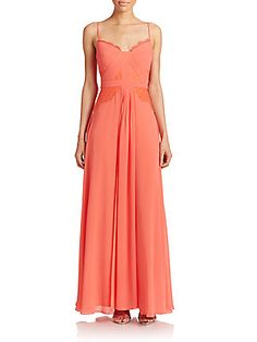 Antonia Lace-Trim Pleated Gown