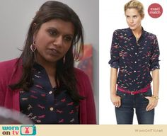 Mindy wore this pretty navy shirt with pink horses on it on last night's Mindy Project, it is by C Wonder and on sale for $109.99! http://wornontv.net/9532