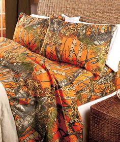 Sheet Set Camouflage King Size Cabin Country Lodge Bedding Camo Pink Orange Natural