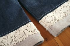 lace and linen pants hem.... This is a neat idea for a pillow