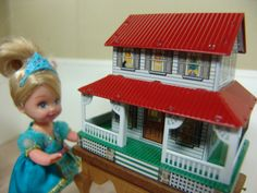 1:12 Miniature Tin Litho Dollhouse For Your Dollhouse, Not vintage, but a very cool teensy retro repro tin dollhouse for a dollhouse!