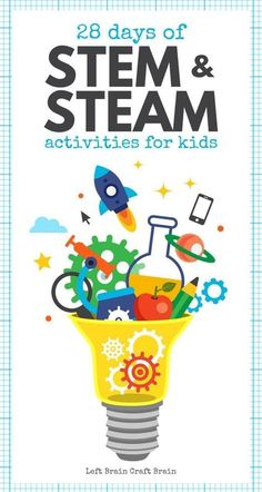 28 Days of STEM Activities and STEAM Activities for Kids is loaded with hands-on science, technology, engineering, art, and math projects perfect for the classroom and at home. The kids are gonna love this! via @craftbrain Stem Science, Science For Kids, Science Art, Science Experiments, Elementary Science, Science Ideas, Science Lessons, Upper Elementary, Steam Activities