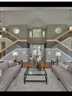It is nice to see a symmetrical design. They matched the setup to the home design and it looks great! Dream Home Design, Home Interior Design, My Dream Home, House Design, Interior Colors, Room Interior, Gray Interior, Dream House Interior, Design Room