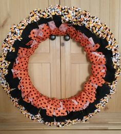 Halloween rag fabric wreath 25 candy corn by BrumbleBerryBoutique