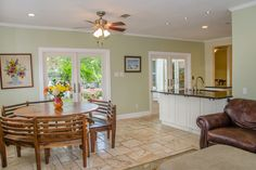 French Pattern Travertine Floors in the Open Entertaining Area