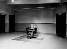 A view of the death chamber and electric chair at Sing Sing prison in Ossining, New York, where Julius and Ethel Rosenberg were electrocuted. The photo was taken on Jan. six days before their executions. - Warhol Appropriated this Sing Sing Death Chamber