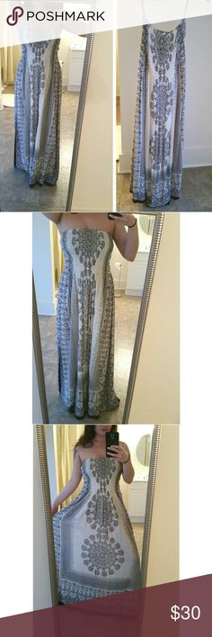 Indian Maxi Dress Beautiful Indian Maxi Dress | Strap or strapless (strapless in these photos but they do come with them) | Beaded | India Boutique | Never worn | Stretchy and comfortable | About 46 inches long | I'm usually a small in dresses but this can really fit any size because its so stretchy Dresses Maxi