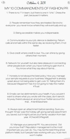 The 10 Commandments of Fashion PR courtesy of #dknyprgirl