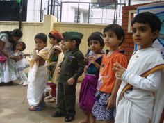 Despite some of the children were wearing garments like Dhoti, Saree, which are not very convenient for movement. Children never complained Dhoti Saree, Sarees, Indian Independence Day, Incredible India, Desi, Children, Kids, The Incredibles, Culture