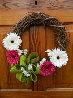 Grapevine Wreath with pink and white flowers, green burlap ribbon, nice Spring or Summer wreath