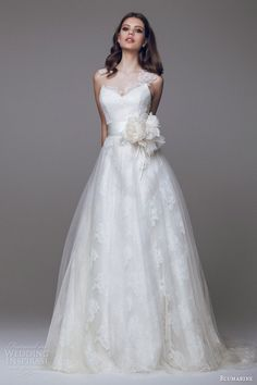 blumarine bridal 2015 beautiful sleeveless wedding dress illusion neckline