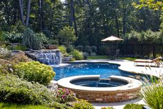 Inground pool with hot tub and water fall <3