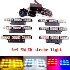57.00$  Watch now - http://aliyrj.worldwells.pw/go.php?t=1541232829 - 6*9 54 LED Car Vehicle Auto Warning Blinking Strobe Flash Emergency Lights Lightbar Deck Dash  3 Mode 12V red blue amber white