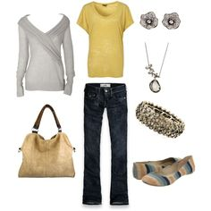 Mustard/Neutral Fall Casual, created by #zoe-smith-pettingill on #polyvore. #fashion #style Hollister Co. Big Buddha