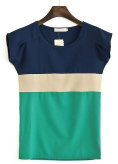 Navy Green Round Neck Short Sleeve Chiffon Blouse