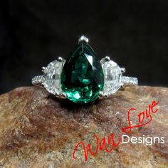 Emerald Moissanite 3 Gemstone Pear Half Moon Engagement Ring 2.5ct 10x7mm 14k 18k White Yellow Rose Gold Platinum Custom