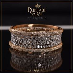 Diamond Jewelry Crafted with delicacy and precision, this stunning bracelet by Punjabi Saraf will stand out every time. Gold Ring Designs, Gold Bangles Design, Gold Jewellery Design, Silver Jewelry, Diamond Jewellery, Jewellery Box, Wedding Jewelry, Jewellery Shops, Handmade Jewellery