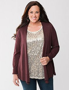 Get cozy! Our open-front cozy cardigan layers over practically anything to instantly warm up your look. The medium weight knit makes this the perfect layering piece from season to season, in luxe stretch cotton for a soft feel you'll love. Detailed with a ribbed back, cuffs and hem. lanebryant.com
