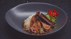 Pork tenderloin, spiced rock sugar syrup, green tea infused rice, stir fried kangkung | MasterChef Australia #masterchefrecipes
