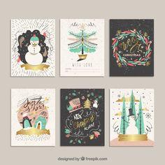 Desenhadas mão cartões de Natal engraçados Vetor grátis