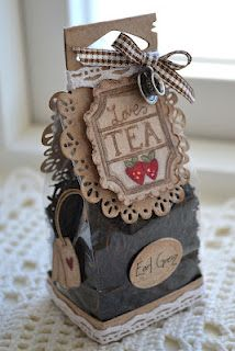 """Tea for two"" featuring the ""So Wrapped"" Magnolia Doohickey Die Homemade Gifts, Diy Gifts, Little Presents, Craft Fairs, Gift Bags, Cardmaking, Tea Party, Craft Projects, Paper Crafts"