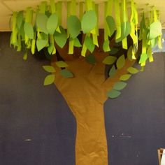 Classroom tree decor....hmmm, but how bout hanging leaves with fishing line, various lengths and spacing, use collection of real branches for trunk?