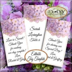 Floral detailed in soft purple, DIY printable tags template decorates weddings, showers, versatile for many events. Tag party favors where you can insert a unique message to create beautiful escort cards, designate gifts, and more. #TagTemplate #ThankYouTags #WeddingDIY #PrintableDownload #PurpleWeddings