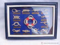 Cuadro con nudos marineros enmarcado en madera decoración nautica-