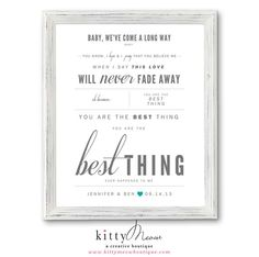 """Light Gray & Teal, Ray LaMontagne """"You Are The Best Thing"""" - Wedding / Anniversary Gift, Wedding Song Lyrics Wall Art Print - Qty. 1 by KittyMeowBoutique, $25.00"""