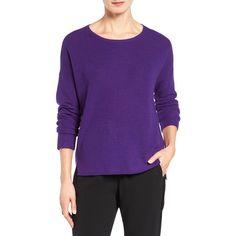 Women's Eileen Fisher Fine Merino Wool Boxy Sweater ($218) ❤ liked on Polyvore featuring tops, sweaters, ultra violet, merino wool sweater, bateau neckline tops, bateau neck tops, boat neck tops and eileen fisher