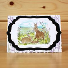 CS124D 'March Hares' Clear set contains 9 stamps. Designed by Sharon Bennett for Hobby Art. Card by Bernie Simmons