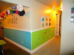 blue chalkboard wall, green magnetic wall....this is SO happening at our house!