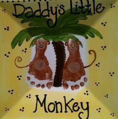 """Footprints for """"Daddy's Little Monkey"""" keepsake plate"""