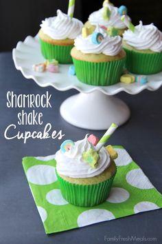 Shamrock Shake Cupcakes --FamilyFreshMeals.com --
