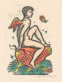 Ľudovít Fulla – Sediaci Amor, 1944 Illustrator, Wings, Artist, Cards, Painting, Amor, Artists, Painting Art, Paintings