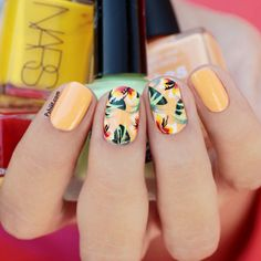 Get inspirations from these cool stylish nail designs for short nails. Find out which nail art designs work on short nails! Diy Nails, Cute Nails, Pretty Nails, Fall Nail Art Designs, Cute Nail Designs, Tropical Nail Designs, Tropical Nail Art, Tropical Design, Awesome Designs