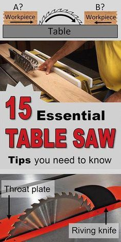 Table saw tips tech Table saw tips techniques cabinet portable benchtop enclosed bench top blades teeth cross cutting ripping tricks. Learn Woodworking, Woodworking Patterns, Woodworking Skills, Easy Woodworking Projects, Popular Woodworking, Woodworking Techniques, Woodworking Furniture, Wood Projects, Teds Woodworking