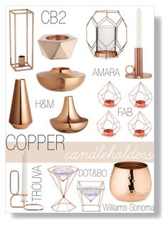 """Copper Candle Holders"" by by-jwp ❤ liked on Polyvore featuring interior, interiors, interior design, home, home decor, interior decorating, House Doctor, H&M, CB2 and Williams-Sonoma"