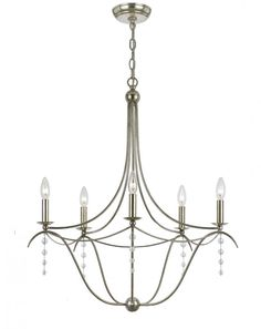 Five Light Nickel Up Chandelier | Newton Electrical Supply