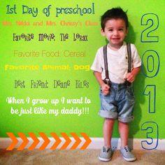 First Day of Kindergarten Picture 1st Day Of School Pictures, Last Day Of School, School Photos, School Fun, Pre School, School Ideas, Teaching Kids, Kids Learning, Preschool Pictures