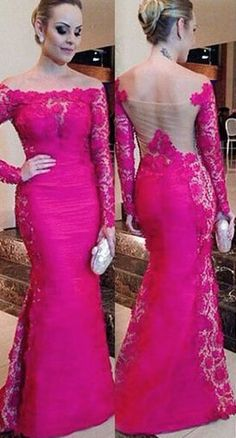 Charming Long Sleeve Lace Real Made Prom Dresses,Long Evening Dresses,Prom Dresses