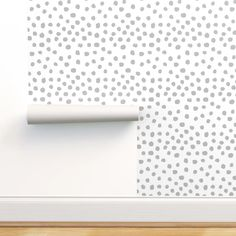 Gray Dots Wallpaper - Dots Grey Minimal Spots By Charlottewinter - Dots Custom Printed Removable Self Adhesive Wallpaper Roll by Spoonflower Grey Dot Wallpaper, Custom Wallpaper, Wallpaper Roll, Peel And Stick Wallpaper, Simple Baby Nursery, Drawer And Shelf Liners, Self Adhesive Wallpaper, Diy Hanging, Paint Cans