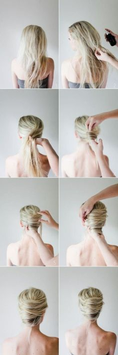 DIY Hair Bun diy diy ideas easy diy diy beauty diy hair diy fashion beauty diy diy bun diy style diy hair style diy updo Does anyone else see the irony here. It's says it's a DIY Hair bun, bun the model is clearly not the on doing it! Romantic Hairstyles, Twist Hairstyles, Pretty Hairstyles, Wedding Hairstyles, Style Hairstyle, Updo Hairstyle, French Roll Hairstyle, Curly Hairstyles, 1950s Hairstyles