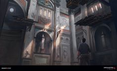 Uncharted 4 - Clocktower , Nick Gindraux on ArtStation at https://www.artstation.com/artwork/0oyd5