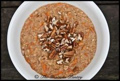 Clean Eating Carrot Cake Oatmeal    Ingredients  2/3 cup steel-cut oats (dry)  1-2/3 cups milk of choice (if cooking in a rice cooker) or 2 cups (if cooking in a pot)  1/2 cup shredded carrots  1 tsp. vanilla extract  1 tsp. ground cinnamon  1/2 tsp. nutmeg    Toppings:    Chopped walnuts or pecans  Toasted, sweetened coconut flakes  Raisins
