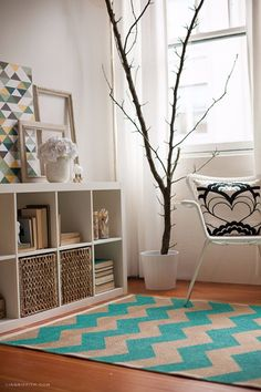 Cool Turquoise Room Decor Ideas - Hand Painted Chevron Rug - Fun Aqua Decorating Looks and Color for Teen Bedroom, Bathroom, Accent Walls and Home Decor - Fun Crafts and Wall Art for Your Room http://diyprojectsforteens.com/turquoise-room-decor-ideas