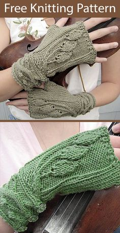 Free Knitting Pattern for Fingerless Mitts Sourwood Mountain - Leaf lace handwarmers feature leaves on the hand and branching cables on the cuff. Sizes Small, Medium and Large. Designed by Erica Jackofsky (Fiddle Knits) Finger Knitting, Loom Knitting, Free Knitting, Fingerless Gloves Knitted, Knit Mittens, Knitted Hats, Baby Knitting Patterns, Outlander Knitting, Knitting Basics