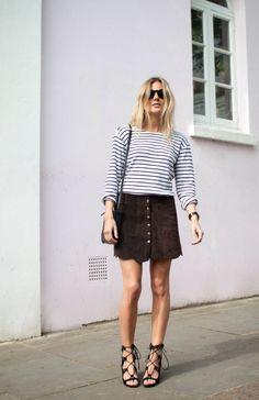 Lucy Williams (Fashionmenow) - Breton Striped Top, Reformation Skirt, Celine Trio Bag, Larsson&Jennings Watch, Zara Lace-up Gladiator Sandals (Chloe-like), Celine Sunglasses